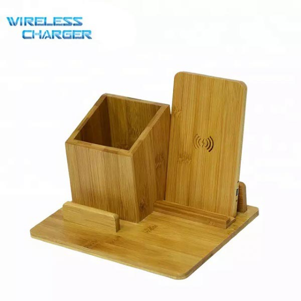 Bamboo Qi Fast Wireless Charger Pad with Stationary Organizer