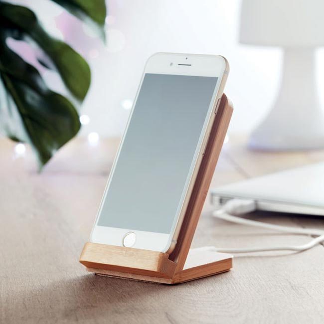 Wire & Stand - Bamboo Wireless Charging Stand