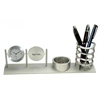 Aluminum Clock with Pen & Clips Holder