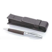 Leather Wrapped Ballpoint with Pouch